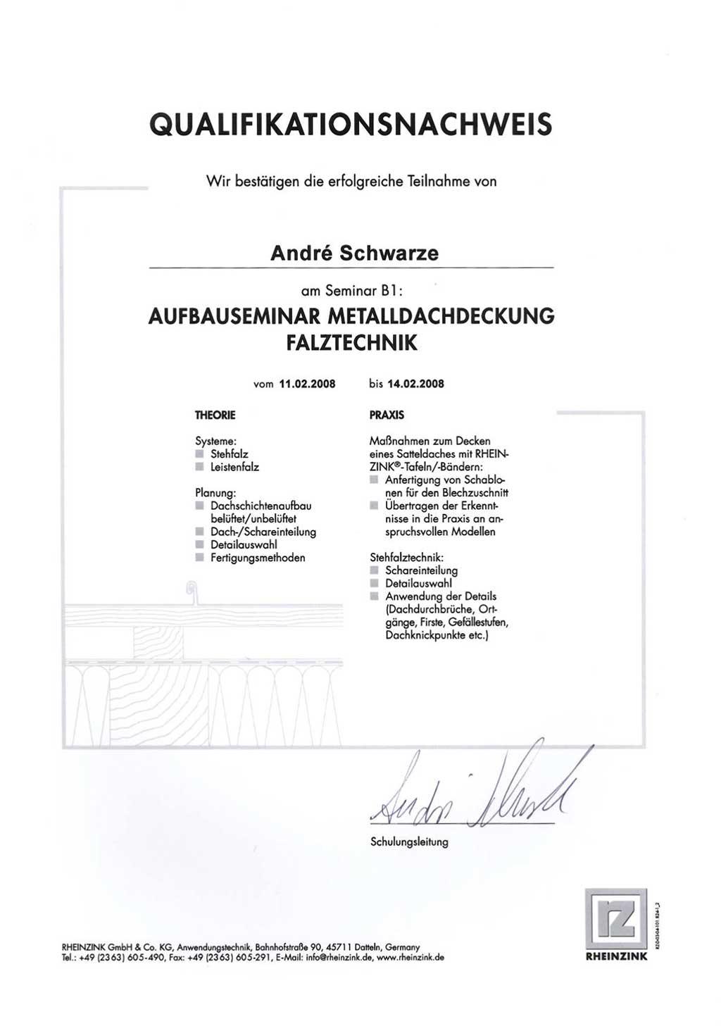Aufbauseminar Metalldachdeckung Falztechnik